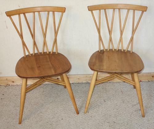 Pair of Ercol Candlestick Elm Chairs c.1960 (1 of 1)