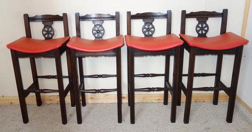 Four Old Charm Oak Bar Kitchen Stools (1 of 1)