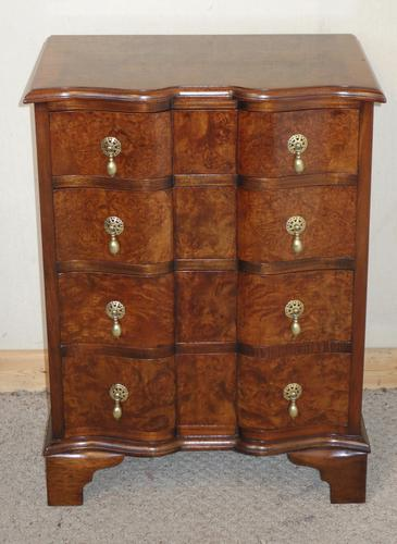 Small Shape-Fronted Walnut Chest of Drawers (1 of 1)
