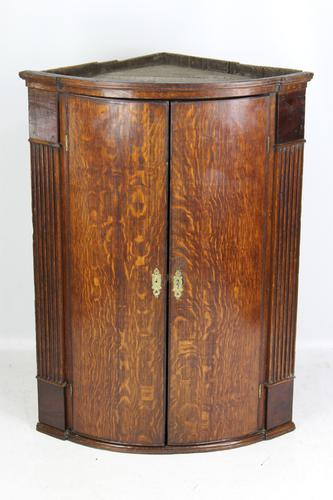 Antique Georgian Oak Bow Front Corner Cupboard (1 of 13)