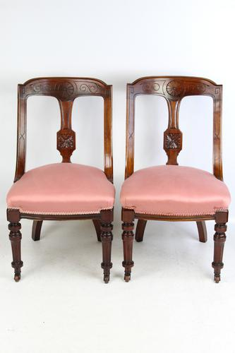 Pair of Antique Victorian Sling Back Chairs (1 of 13)