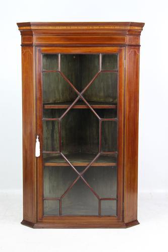 Edwardian Inlaid Mahogany Hanging Corner Cabinet (1 of 13)