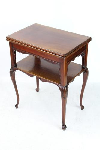 Small Victorian Mahogany Fold Over Card Table (1 of 13)