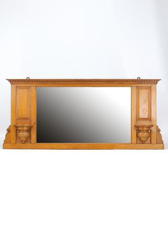 Edwardian Oak Overmantle Mirror (1 of 13)