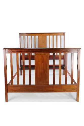 Edwardian Mahogany & Inlaid Double Bed (1 of 13)