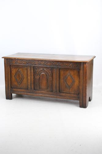 Small Carved Oak Coffer / Blanket Chest c.1920 (1 of 14)