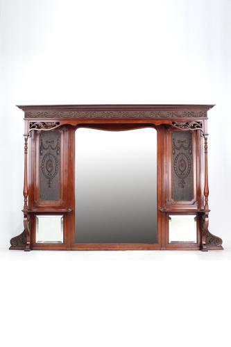 Large Victorian Carved Mahogany Overmantle Mirror (1 of 13)