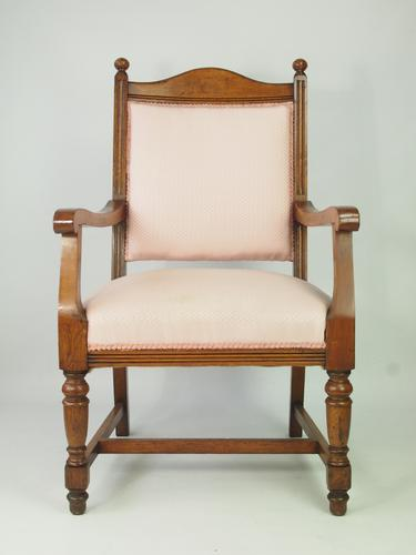 Edwardian Oak Armchair for Recovering – Set 4 Available (1 of 1)