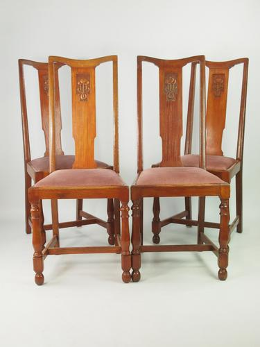 Set 4 Oak Dining Chairs c.1920 (1 of 1)