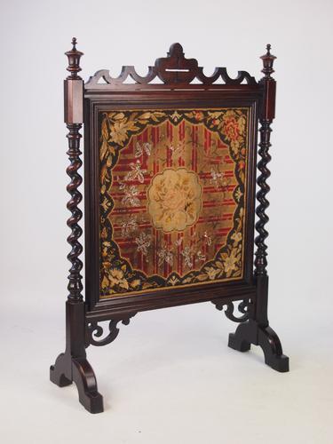 Victorian Rosewood Needlework Fire Screen (1 of 1)