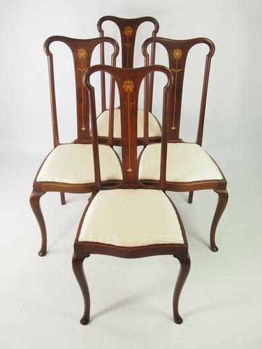 Set of 4 Antique Edwardian Art Nouveau Dining Chairs (1 of 1)