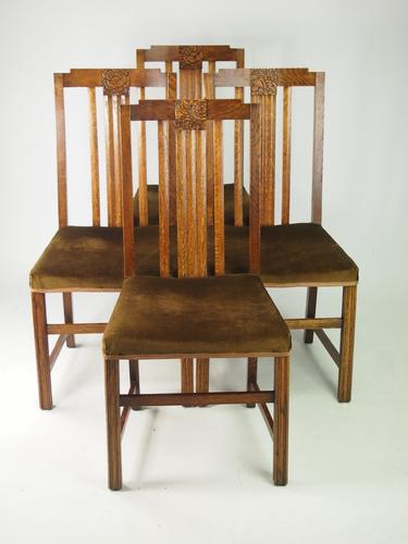 Set of 4 Vintage Art Deco Oak Dining Chairs (1 of 1)