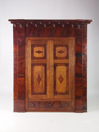 Large Georgian Oak & Mahogany Corner Cupboard (1 of 1)