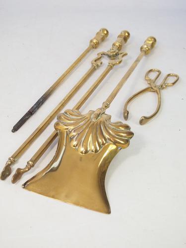 Set of Antique Victorian Brass Fire Irons (1 of 1)