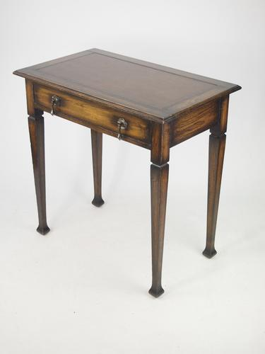 Small Edwardian Arts & Crafts Oak Writing Table with Label (1 of 1)