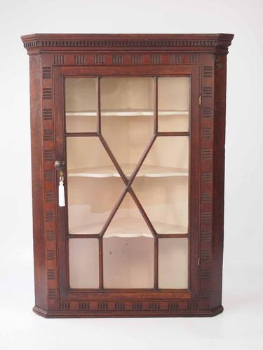 Georgian Oak Corner Cupboard with Astragal Glazed Door (1 of 1)