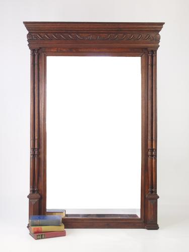 Large Antique French Oak Mirror / Overmantle C.1900 (1 of 1)