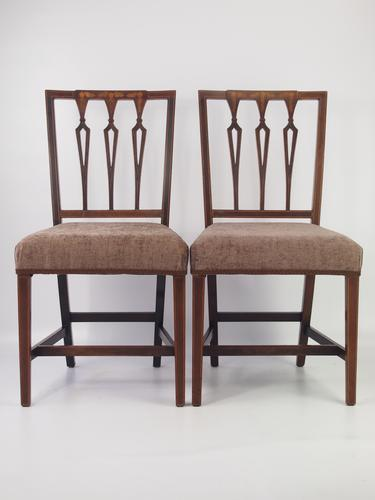 Pair of Antique Edwardian Mahogany & Inlaid Side Chairs c.1910 (1 of 1)