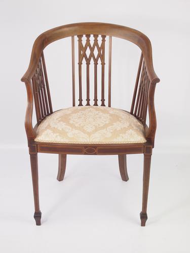 Edwardian Mahogany & Inlaid Armchair / Tub Chair (1 of 1)