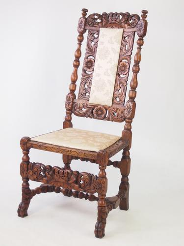 Antique Victorian Walnut Carolean Style Chair (1 of 1)