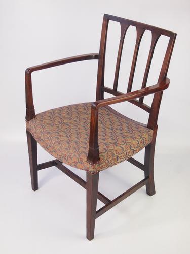 Georgian Mahogany Open Armchair / Desk Chair (1 of 1)