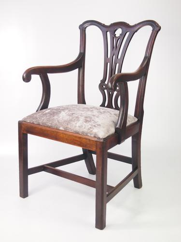 Georgian Mahogany Open Armchair / Desk Chair (1 of 1)