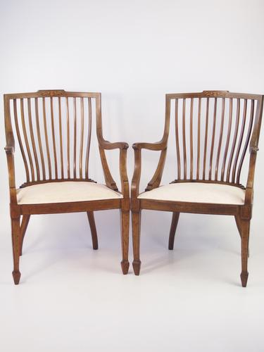 Pair of Antique Edwardian Mahogany Tub Chairs (1 of 1)