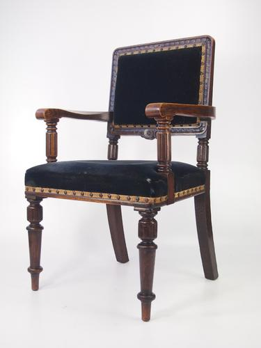 Antique Gentlemans Edwardian Oak Armchair (1 of 1)