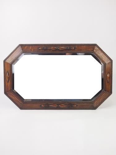 Octagonal Oak Framed Overmantle Mirror (1 of 1)