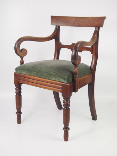 Antique Victorian Mahogany Open Armchair or Desk Chair (1 of 1)