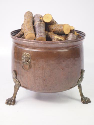Copper & Brass Log Bin with Lions Paw Feet (1 of 1)