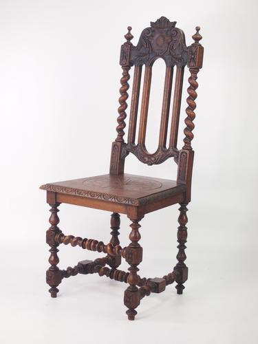 Gothic Revival Oak Hall Chair (1 of 1)