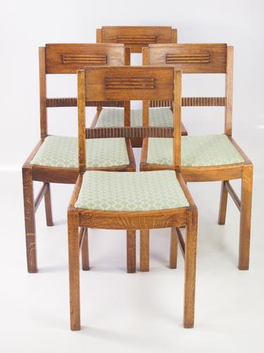 Set of 4 Art Deco Oak Dining Chairs (1 of 1)