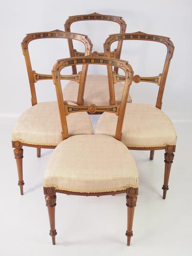Set of 4 Victorian Aesthetic Movement Balloon Back Chairs (1 of 1)