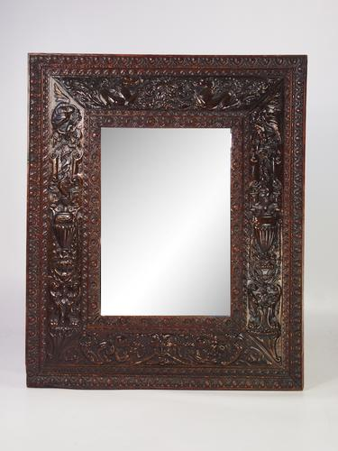 Victorian Renaissance Revival Mirror in Walnut & Copper (1 of 1)