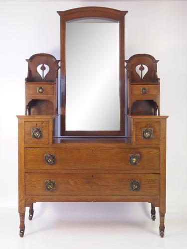 Edwardian Oak Arts and Crafts Dressing Table (1 of 1)
