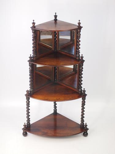 Antique Victorian Four Tier Rosewood Corner Whatnot (1 of 1)