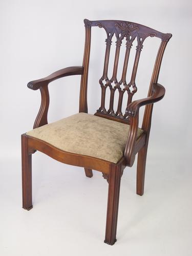 Antique Edwardian Mahogany Chippendale Desk Chair (1 of 1)