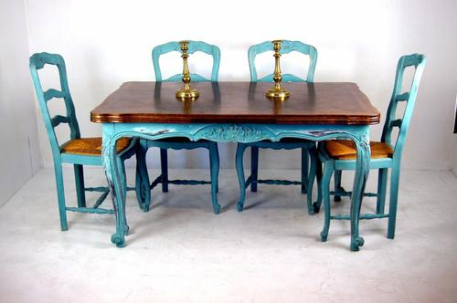 French Oak Extending Table & 6 Chairs c.1920 (1 of 1)