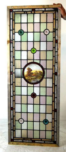 Great Pair of Painted Victorian Leaded Glass Scenic Windows c.1890 (1 of 1)