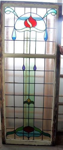 Very Large Art Nouveau Leaded Glass Window c.1900 (1 of 1)