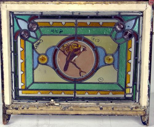 Well Painted Leaded Glass Bird Window c.1900 (1 of 1)
