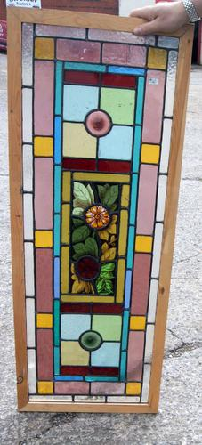 Good Vibrant Victorian Painted & Leaded Glass Window (1 of 1)