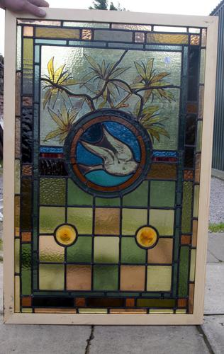 Stunning Leaded Glass & Painted Window of a Bird in Flight (1 of 1)