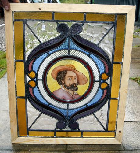 Leaded & Painted Glass Window of Walter Raleigh c.1920 (1 of 1)