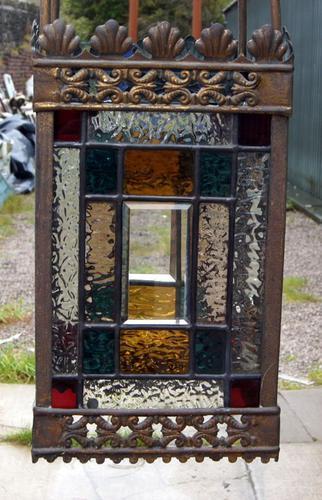 Good Victorian Leaded Glass & Brass Lantern (1 of 1)