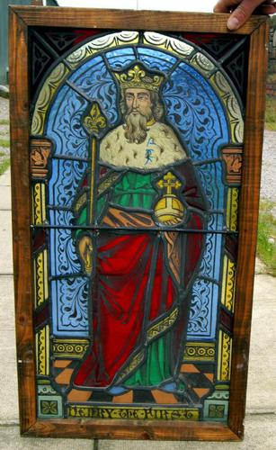 Rare Victorian Stained Leaded Glass Depicting Henry the First King of England (1 of 1)