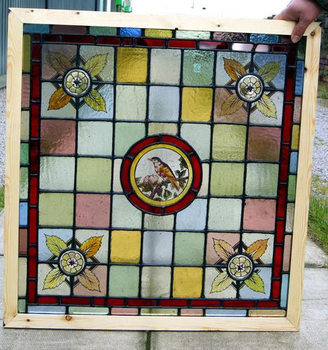 Stunning Pair of Painted Leaded Glass Bird Windows (1 of 1)
