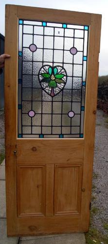 Lovely Leaded Glass Stripped Pine Internal Door c.1920 (1 of 1)