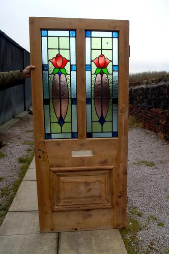 Stunning Stripped Pine Leaded Glass Front Door c.1920 (1 of 1)